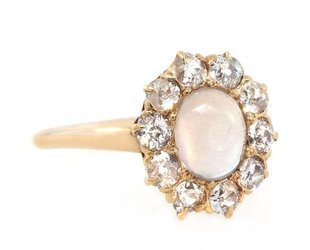 Trabert Goldsmiths Antique Moonstone and Dia Ring E1396