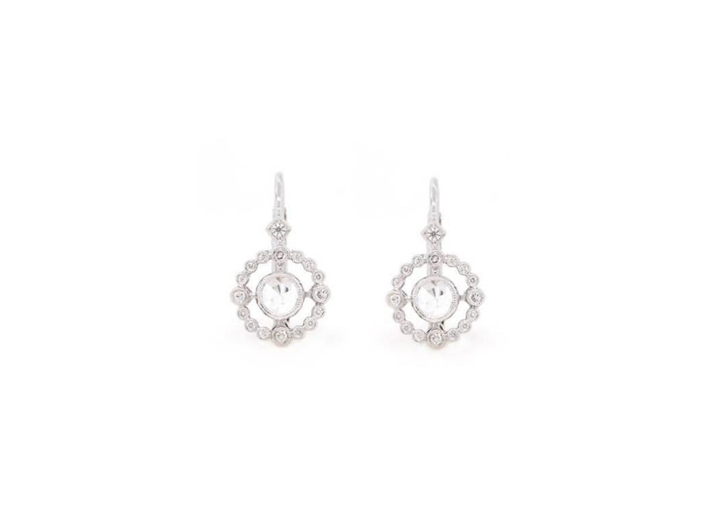 Beverley K Collection Rose Cut Diamond Halo Earrings