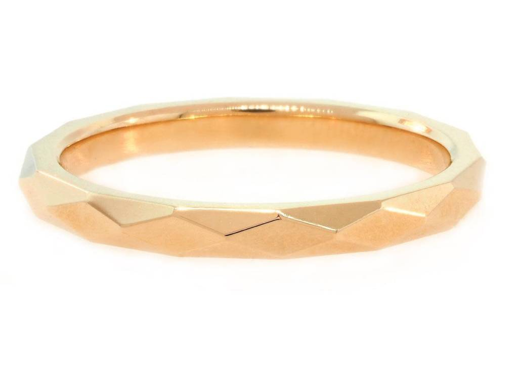 Trabert Goldsmiths Wide Rose Gold Faceted Spectra Band E1246