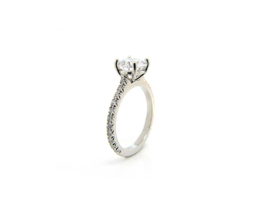 Precision Set French Pave Band with Solitaire Mounting