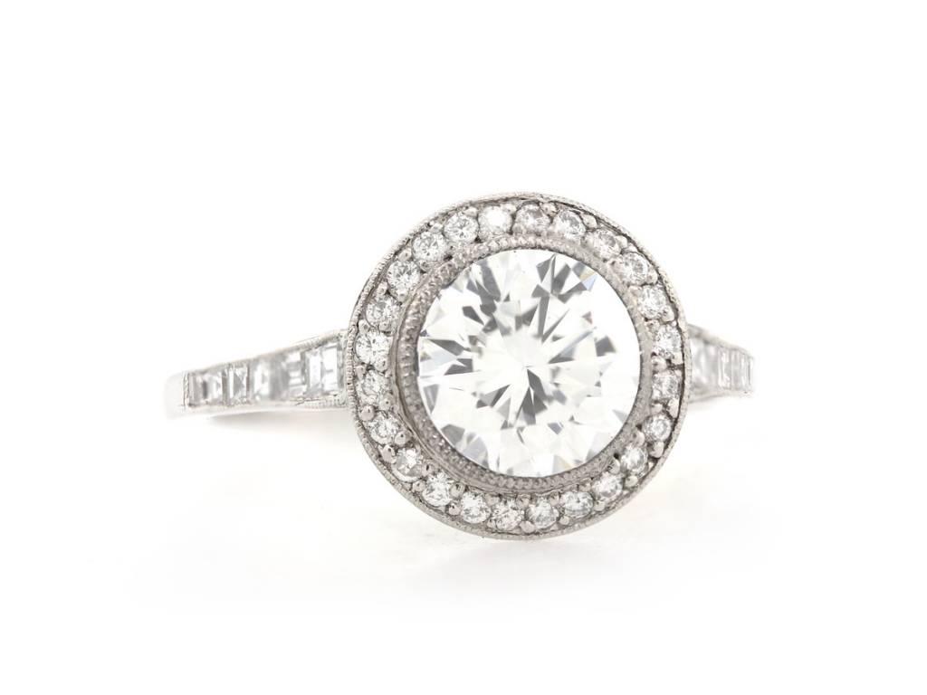 Trabert Goldsmiths Diamond Pave Halo and Carre Cut Diamond Mounting