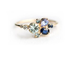 Melanie Casey Clear Water Blue Cluster Ring ME9