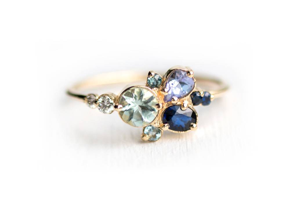 Melanie Casey Clear Water Blue Cluster Ring