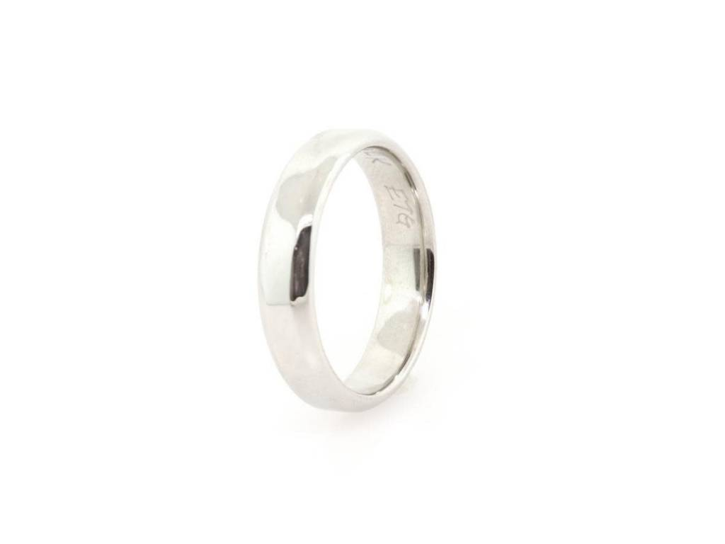 Trabert Goldsmiths Bevel Edged Band 14k White Gold