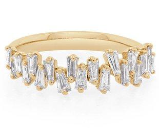 Trabert Goldsmiths Freeform Baguette Dia Gold Ring E1441