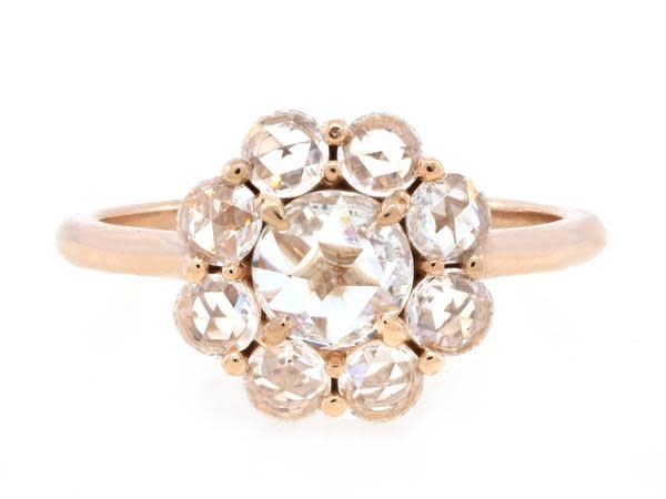 Trabert Goldsmiths 1.06ct twt Rose Cut Dia Cluster Ring