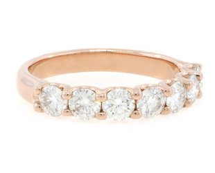 Trabert Goldsmiths 7 Stone Moissanite Rose Gold Ring E1452