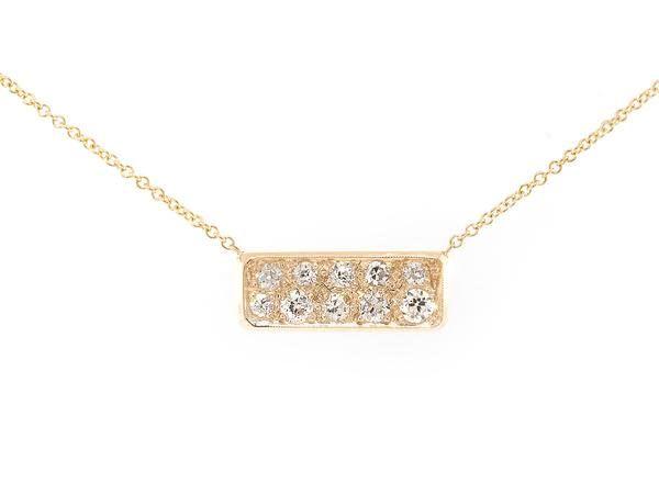 Trabert Goldsmiths Diamond Bullion Bar Necklace