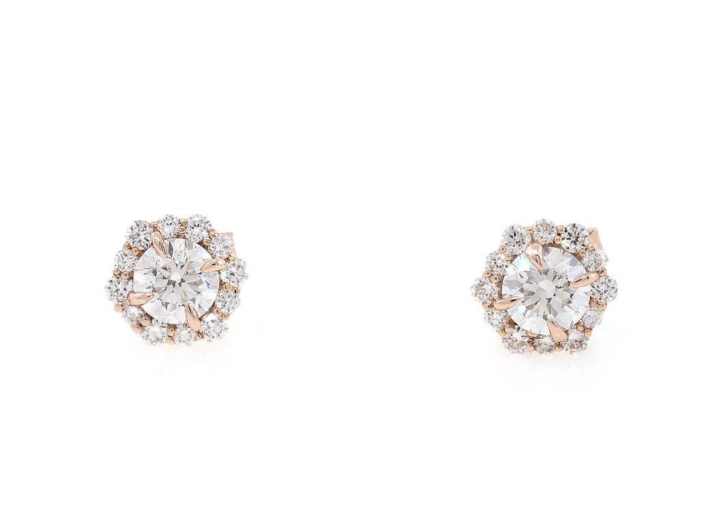 Trabert Goldsmiths Snowflake Cluster Diamond Earrings