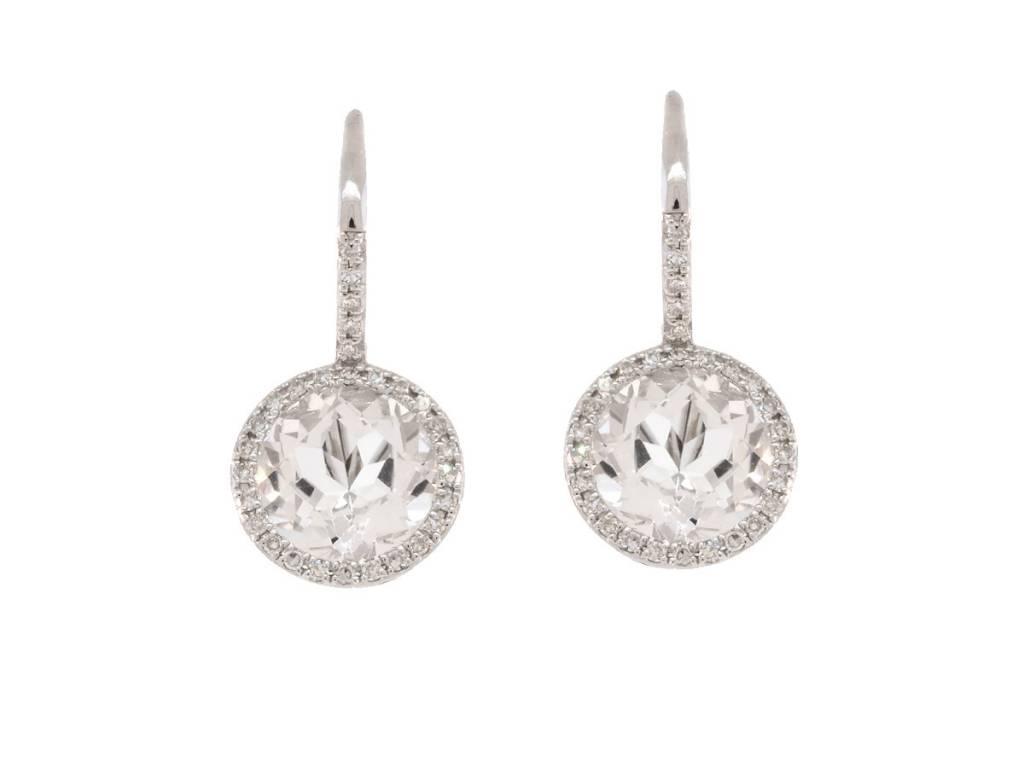 Luvente White Topaz & Diamond Drop Earrings