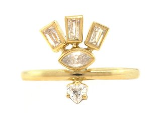 Amrapali Triple Dia Baguette & Marquise Gold Totem Ring A71