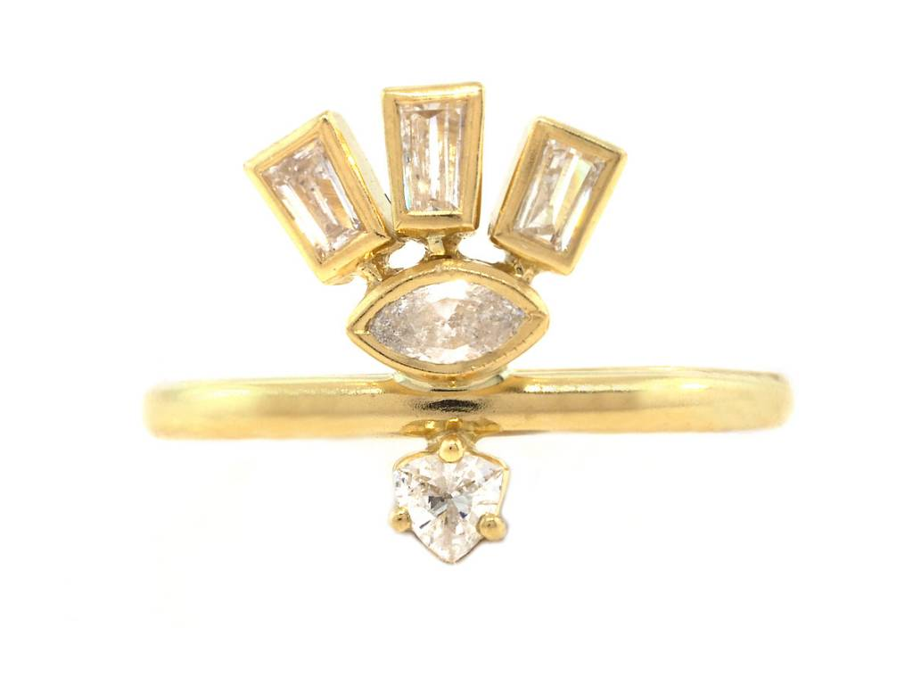 Amrapali Triple Dia Baguette & Marquise Gold Totem Ring