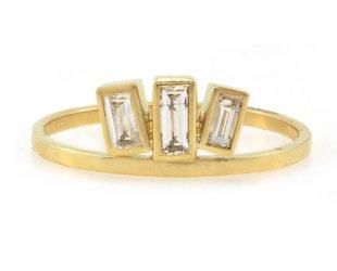 Amrapali Triple Baguette Diamond Gold Ring A67