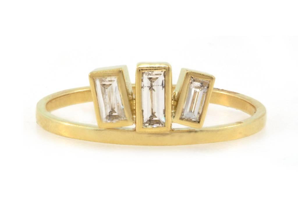 Amrapali Triple Baguette Diamond Gold Ring