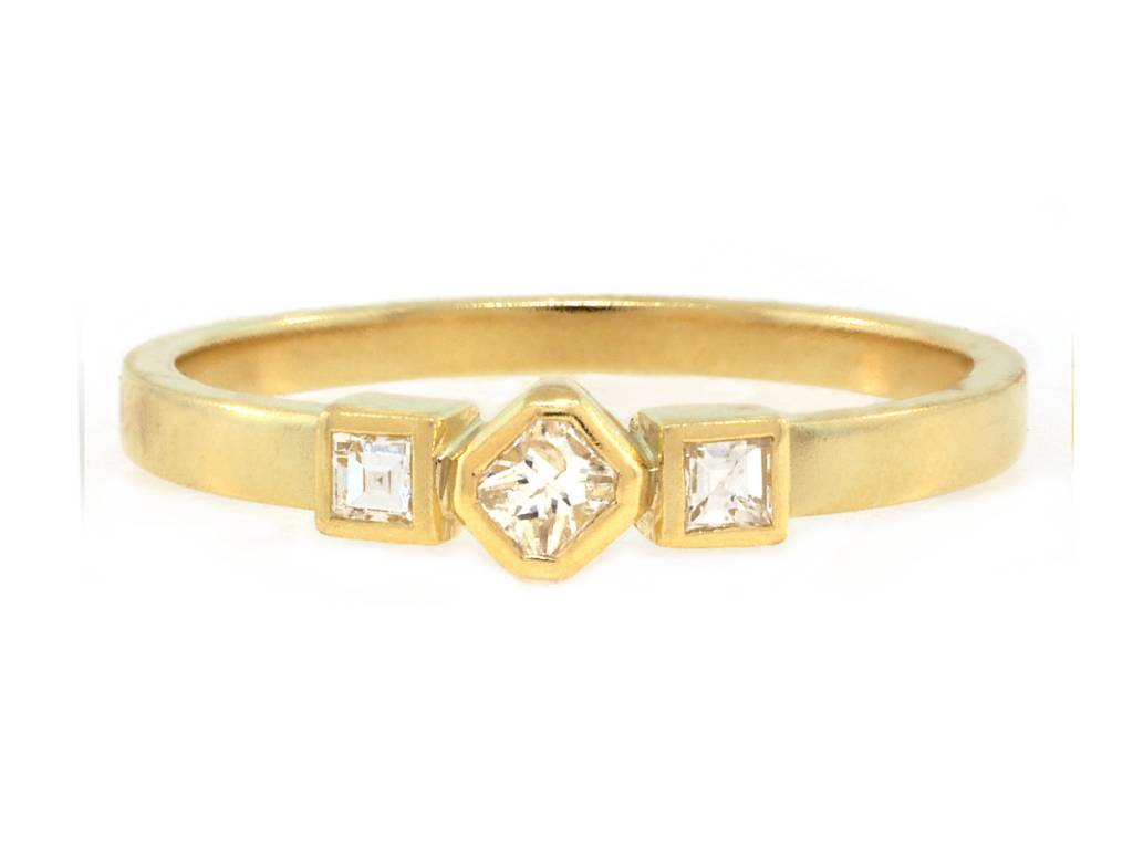 Amrapali Triple Square Diamond Gold Ring