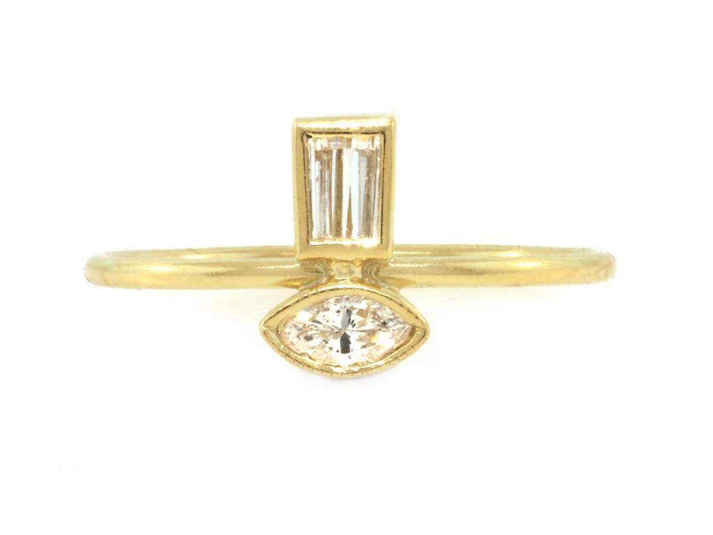 Amrapali Double Diamond Mini Totem Ring