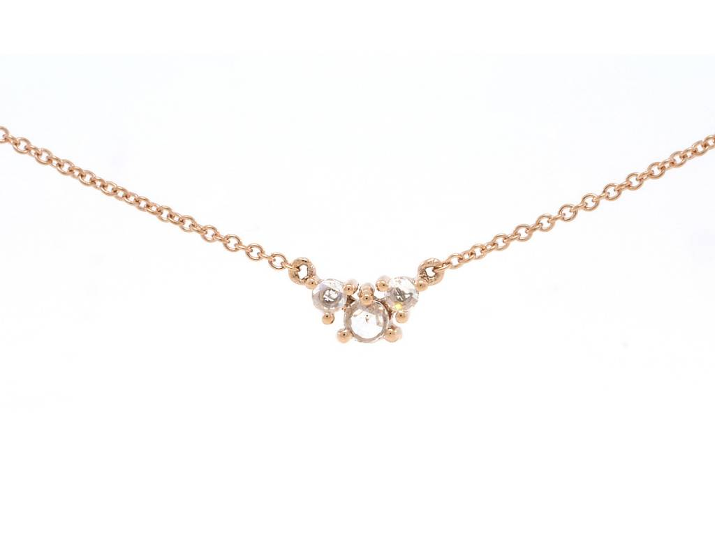 Liven Triple Round Rose Cut Diamond Necklace