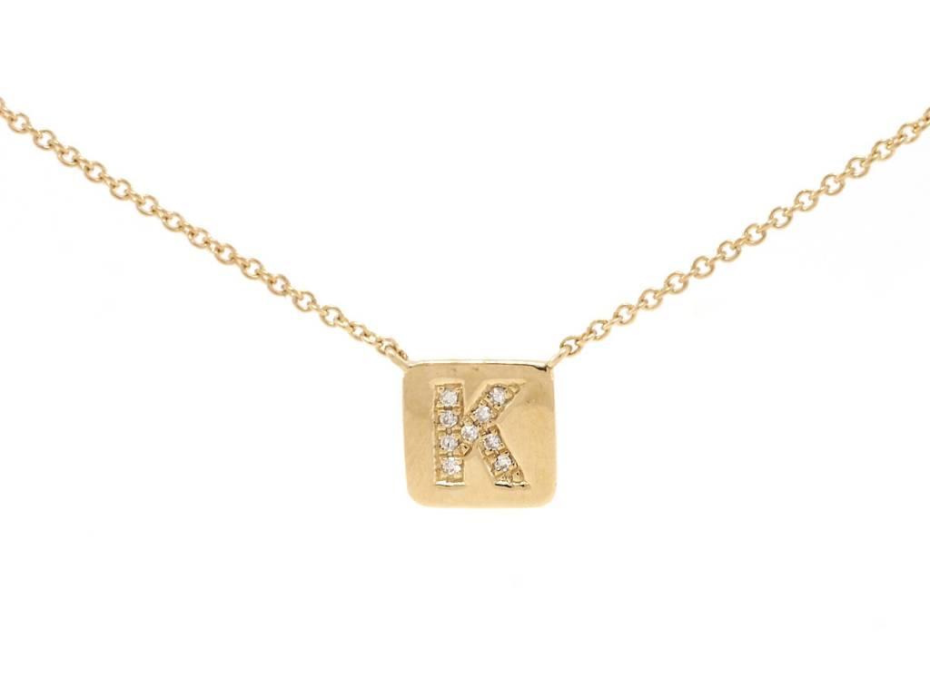 Liven Square Plaque 'K' Diamond Necklace