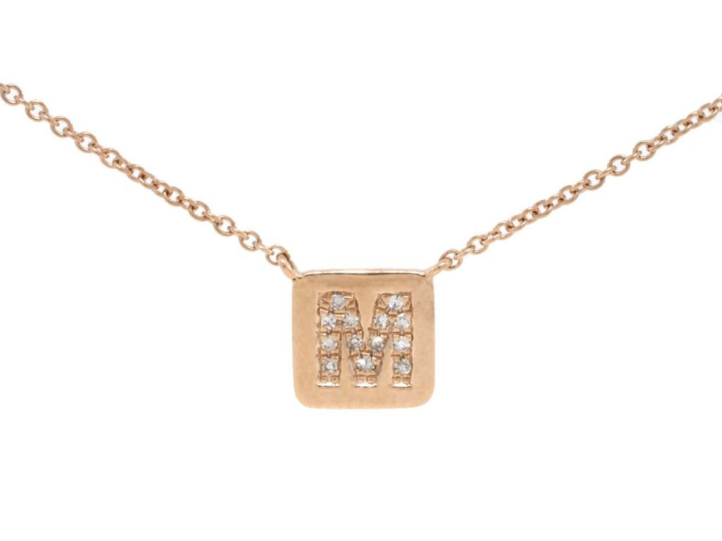 Liven Square Plaque 'M' Diamond Necklace