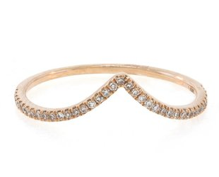 Liven V Shaped Pave Diamond Rose Gold Ring LN33