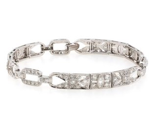 Trabert Goldsmiths Art Deco Diamond Platinum Bracelet E1495