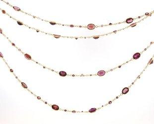 Trabert Goldsmiths Long Rhodolite Garnet Necklace KW59