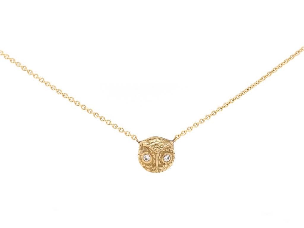 Trabert Goldsmiths Antique Baby Owl Diamond Pendant