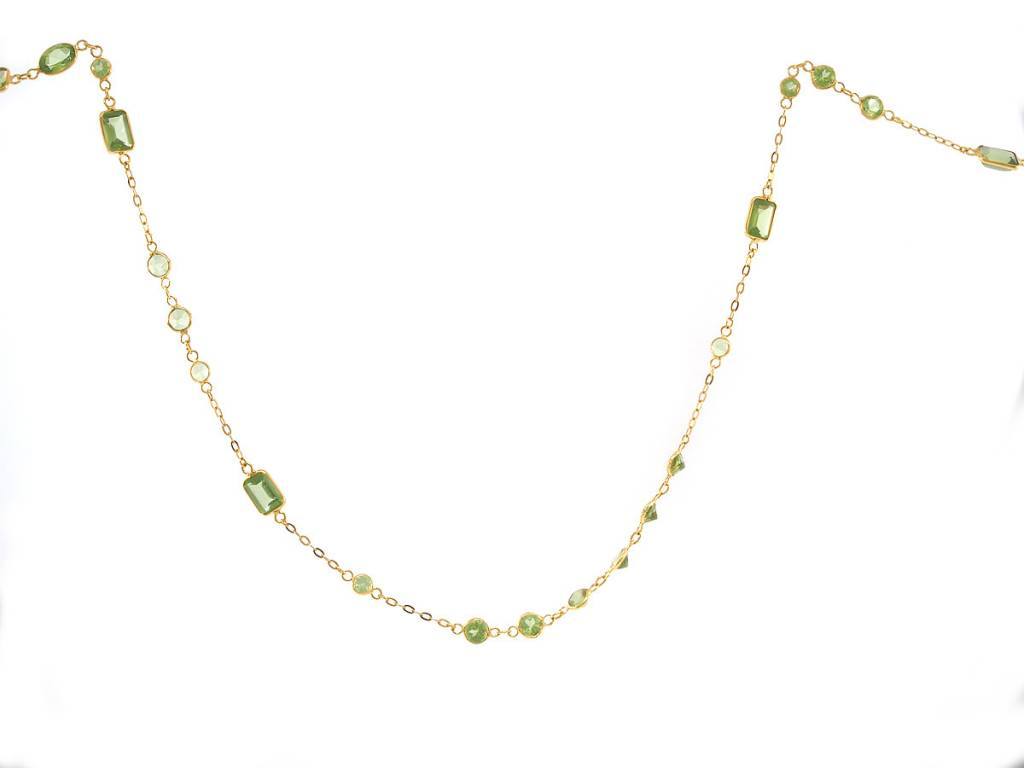 Trabert Goldsmiths Mixed Cut Peridot Bezel Necklace