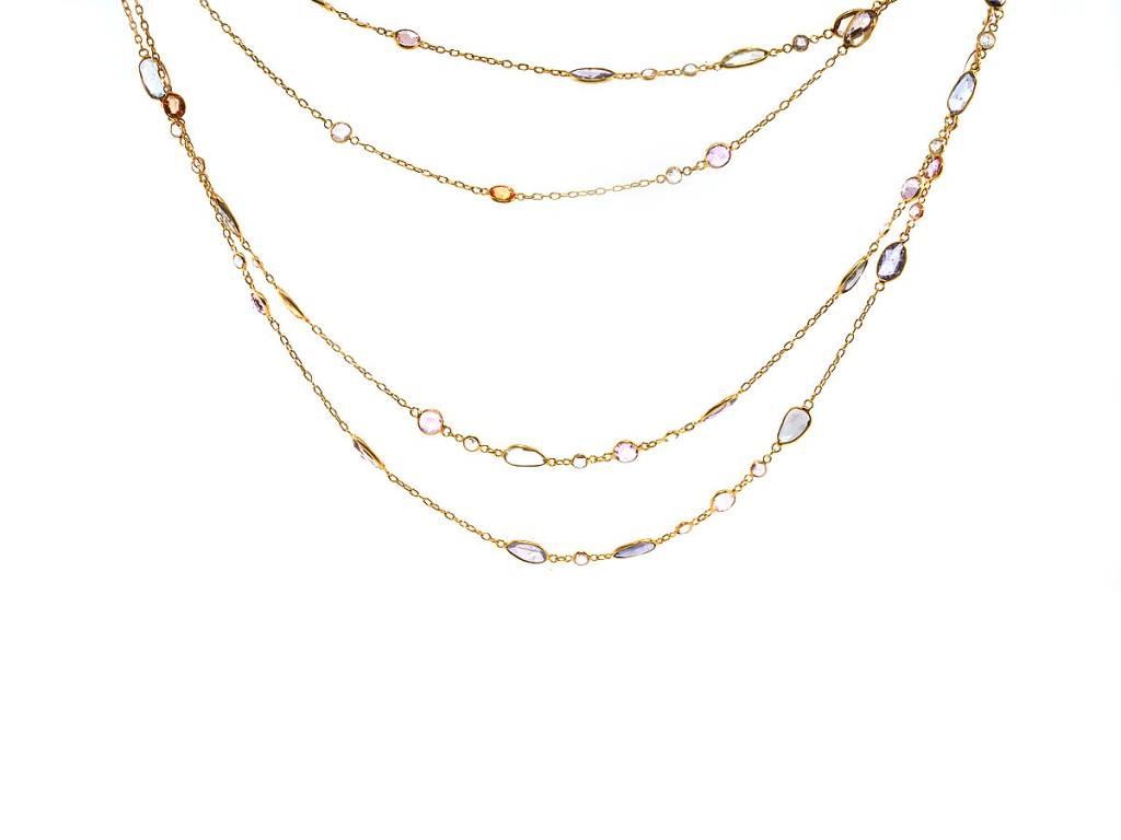Trabert Goldsmiths Long Pastel Sapphire Necklace