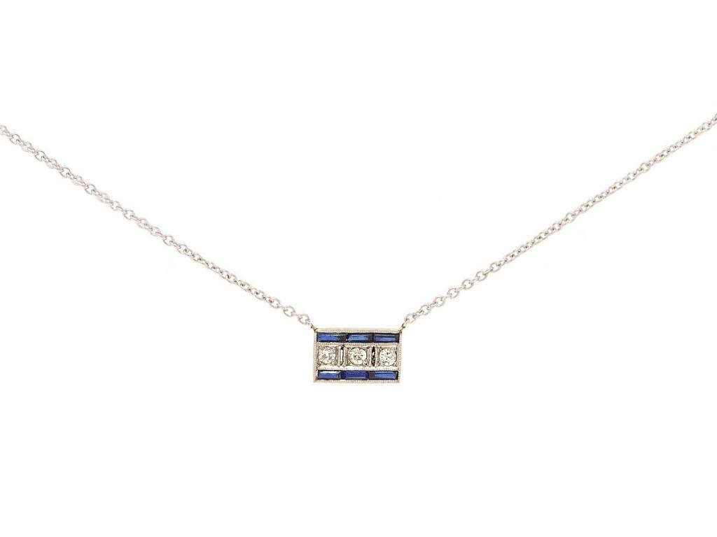 Trabert Goldsmiths Antique Sapphire & Diamond Pendant