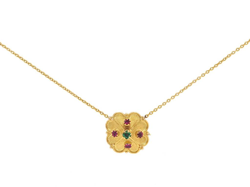 Trabert Goldsmiths Antique Clover Ruby & Emerald Pendant