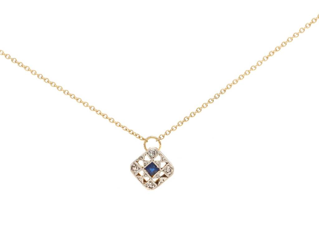 Trabert Goldsmiths Antique Sapphire & Diamond Pendant
