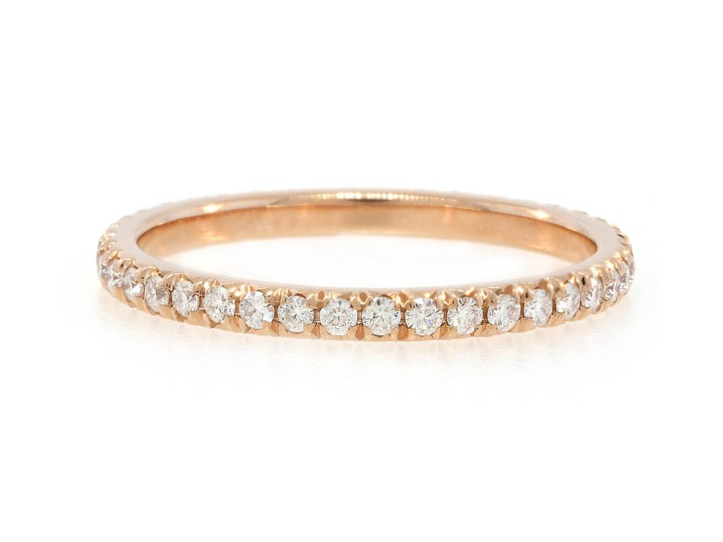 Trabert Goldsmiths Moissanite Pave Eternity Rose Gold Band