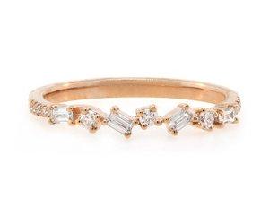 Liven Mini Diamond Baguette Rose Gold Ring LN20