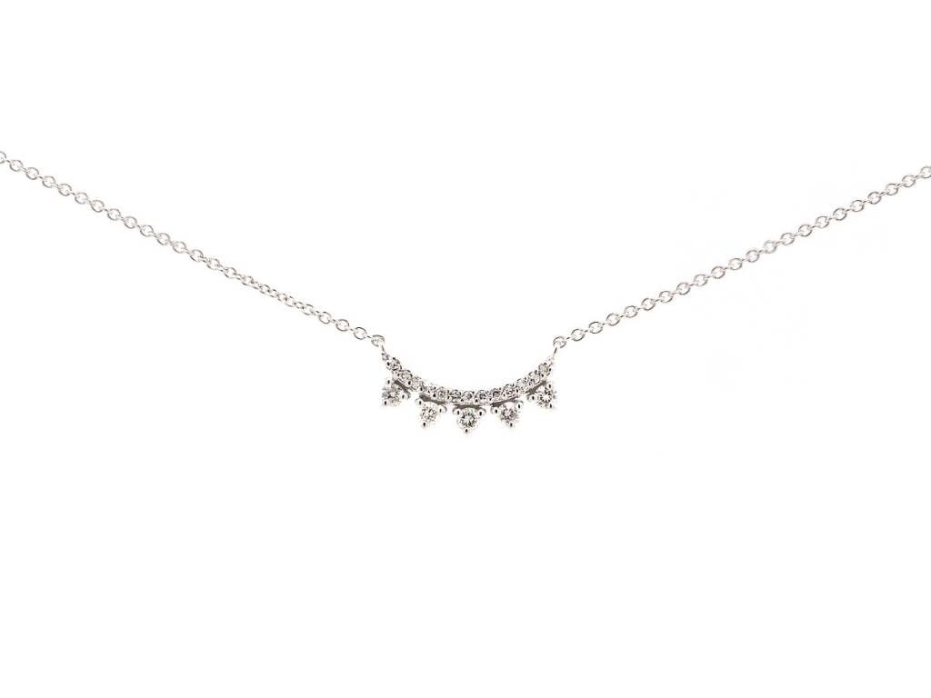 Liven Curved Diamond Bar Necklace
