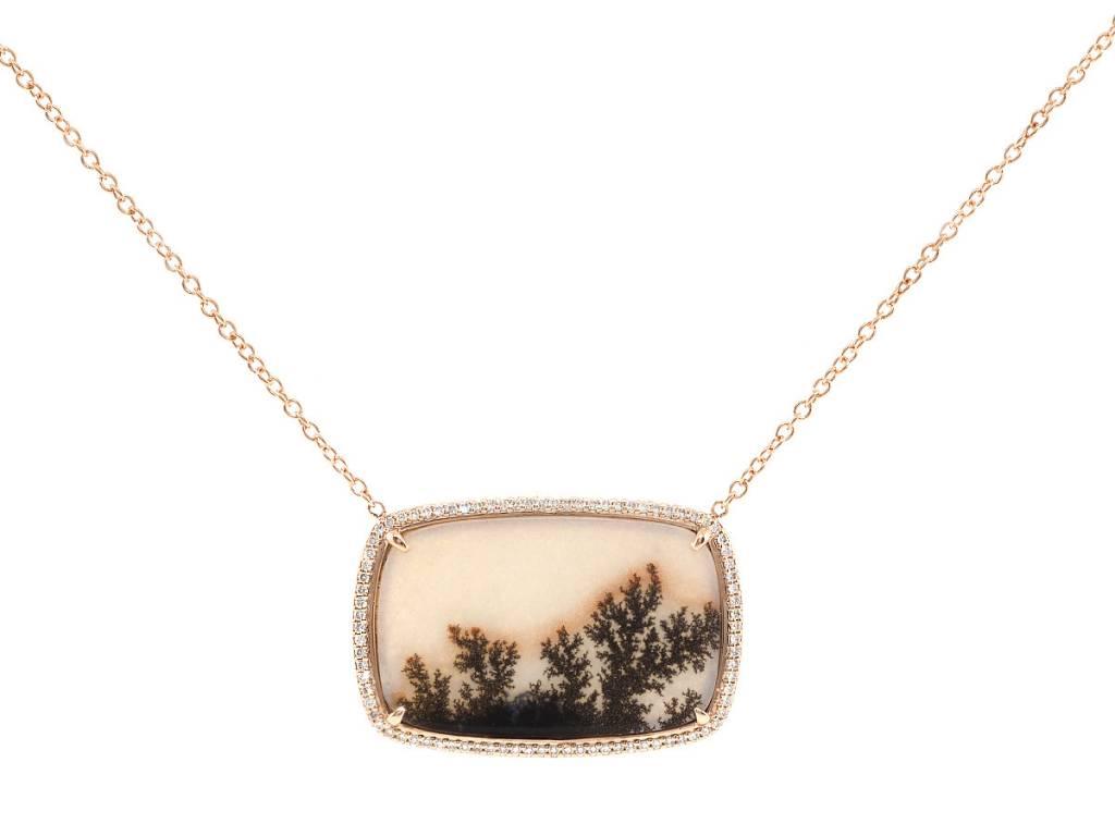 Trabert Goldsmiths Rose Gold Pave Diamond Dendritic Agate Pendant