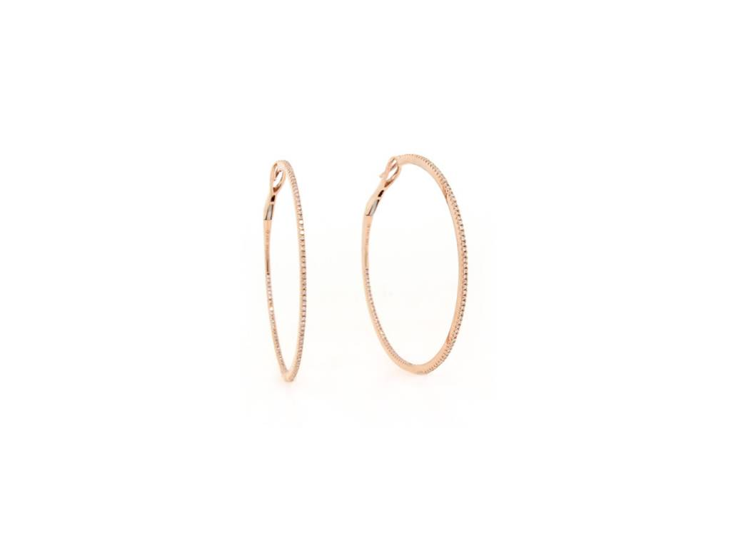 Luvente Rose Gold Large Diamond Hoop Earrings