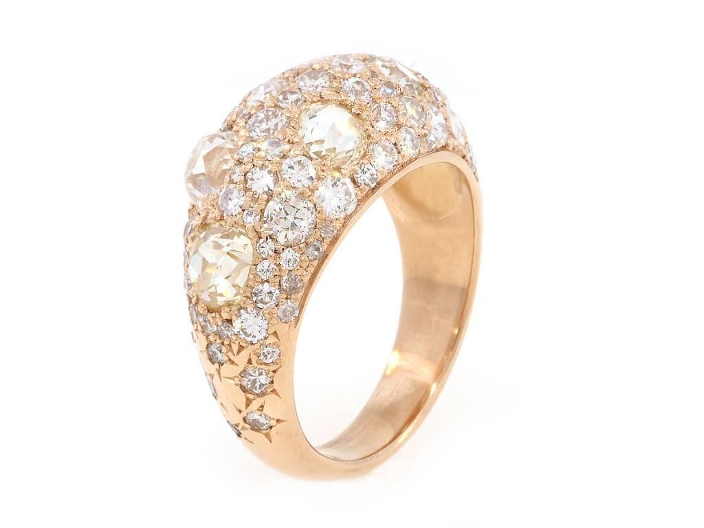 Trabert Goldsmiths 6.35ct Old European Diamond Dome Ring