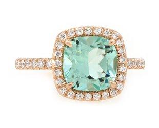 Trabert Goldsmiths 2ct Mint Green Aquamarine Goddess Ring E1548