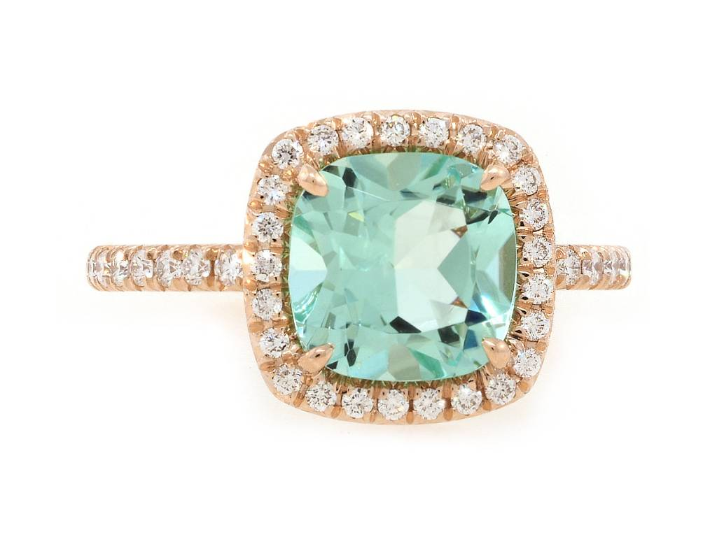 Trabert Goldsmiths 2ct Mint Green Aquamarine Goddess Ring