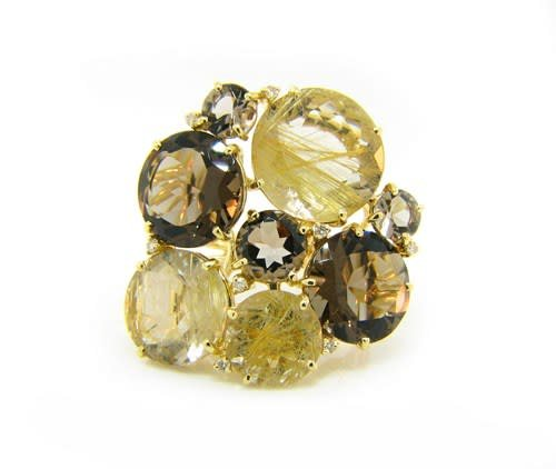 Trabert Goldsmiths Rutilated Quartz and Smokey Topaz Ring