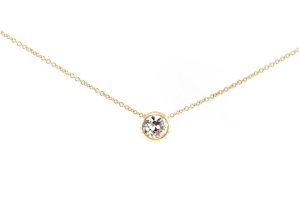 Trabert Goldsmiths .66cts Diamond Bezel Necklace