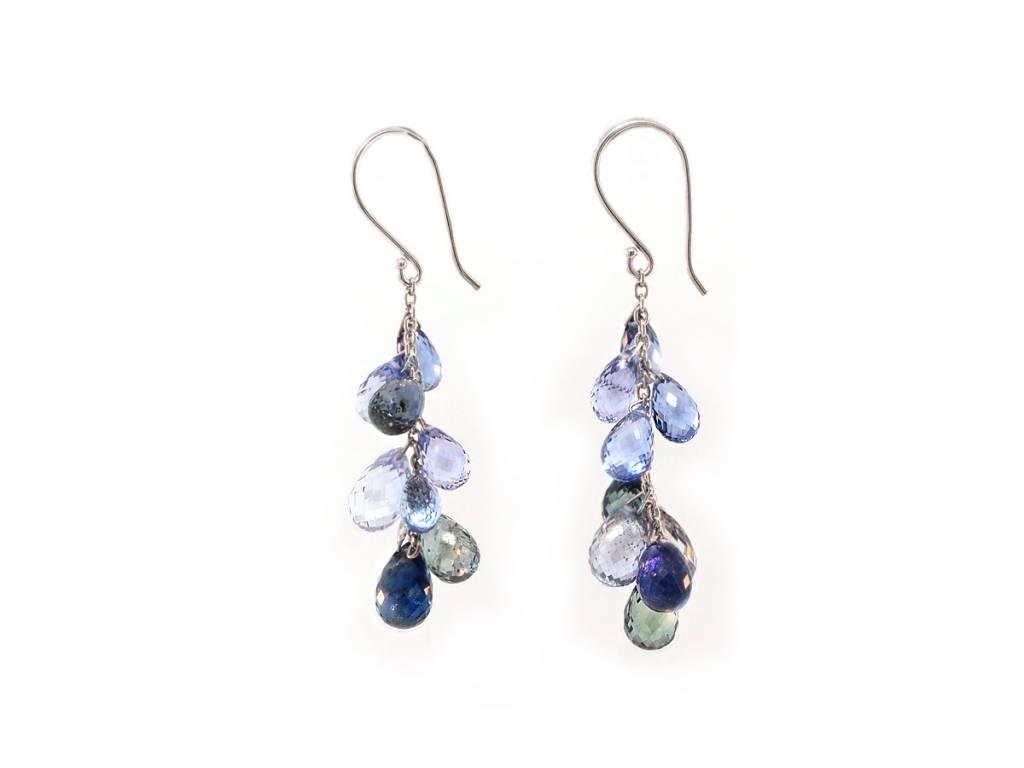Trabert Goldsmiths Blue Sapphire Briolette Dangle Drop Earrings