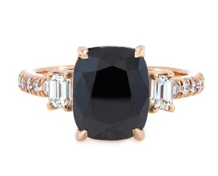 Trabert Goldsmiths 3.50ct Cushion Black Dia Dark Star Ring E1562