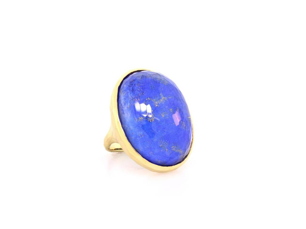 Tony Maccabi Designs Lapis and Quartz Gold Statement Ring