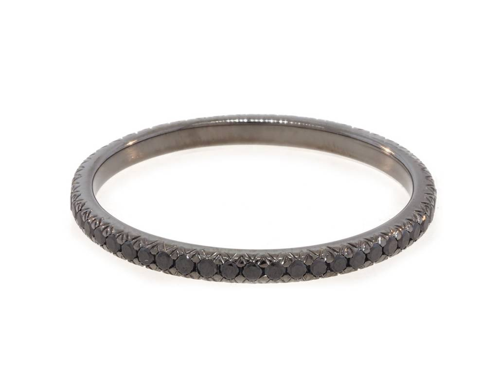 Trabert Goldsmiths Black Diamond Oxidized Eternity Band
