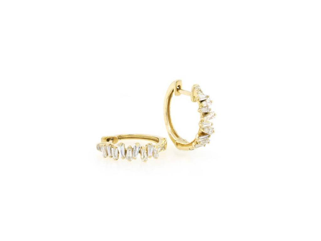 Trabert Goldsmiths Organic Baguette Diamond Hoop Earrings