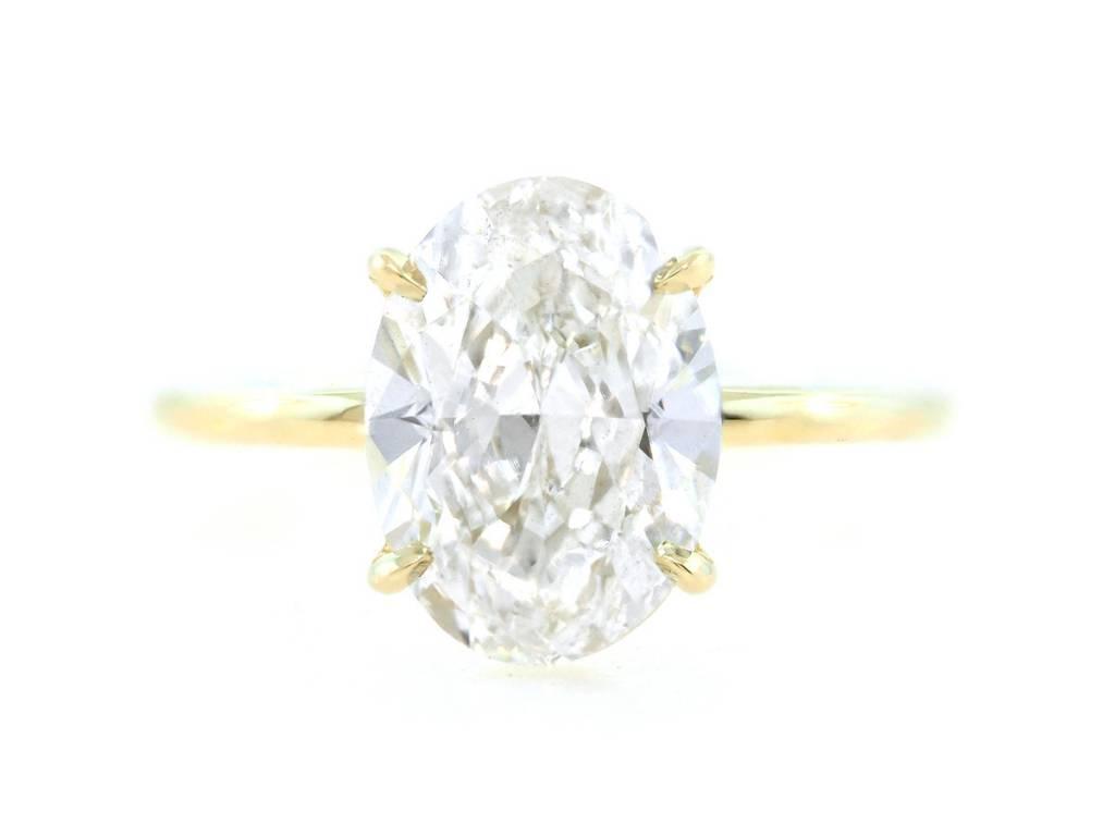Trabert Goldsmiths 3.01ct FSI2 Oval Diamond Aura Ring