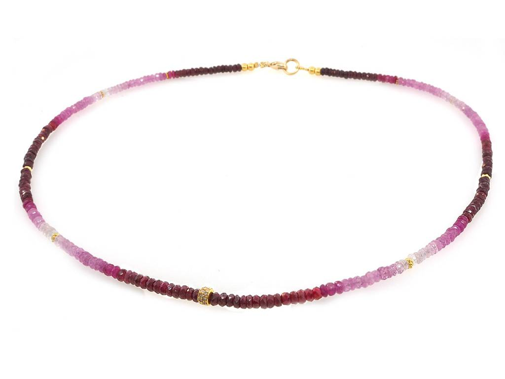 Trabert Goldsmiths Ombre Ruby Beaded Necklace