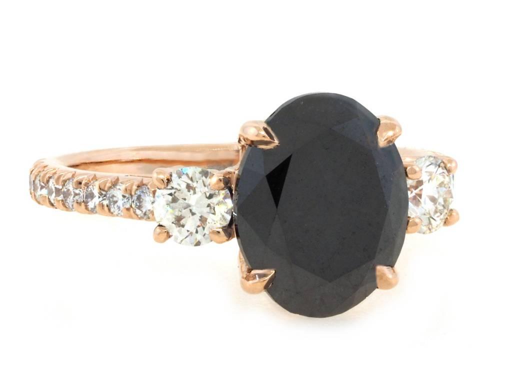 Trabert Goldsmiths 3.16ct Oval Black Diamond Dark Star Ring